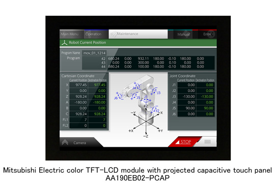 Mitsubishi Electric color TFT-LCD module with projected capacitive touch panel
