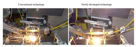 Fig. 1. Visual comparison of spatter during fiber-laser welding